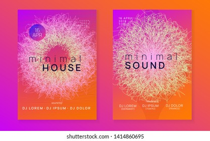 Trance party. Commercial discotheque brochure set. Dynamic gradient shape and line. Neon trance party flyer. Electro dance music. Electronic sound. Club dj poster. Techno fest event.