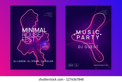 Trance party. Commercial discotheque magazine set. Dynamic gradient shape and line. Neon trance party flyer. Electro dance music. Electronic sound. Club dj poster. Techno fest event.