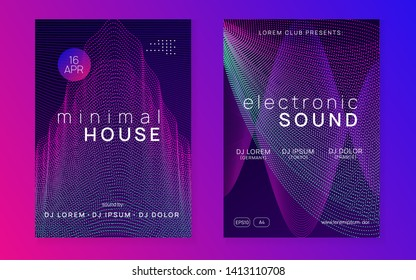 Trance party. Cool discotheque invitation set. Dynamic gradient shape and line. Neon trance party flyer. Electro dance music. Electronic sound. Club dj poster. Techno fest event.