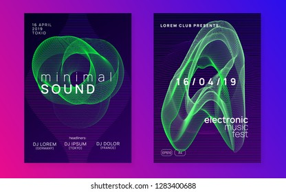 Trance party. Creative concert magazine set. Dynamic gradient shape and line. Neon trance party flyer. Electro dance music. Electronic sound. Club dj poster. Techno fest event.