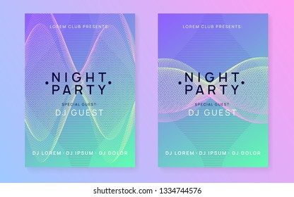Trance party. Curvy concert cover set. Dynamic gradient shape and line. Neon trance party flyer. Electro dance music. Electronic sound. Club dj poster. Techno fest event.