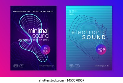 Trance party. Digital show invitation set. Dynamic fluid shape and line. Neon trance party flyer. Electro dance music. Electronic sound. Club dj poster. Techno fest event.