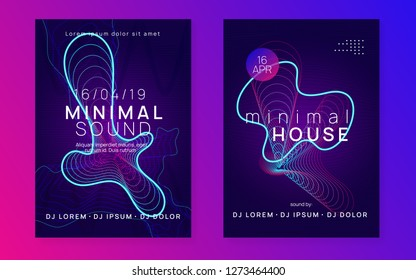 Trance party. Dynamic gradient shape and line. Minimal show banner set. Neon trance party flyer. Electro dance music. Electronic sound. Club dj poster. Techno fest event.