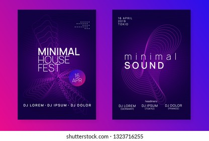 Trance party. Dynamic gradient shape and line. Bright show cover set. Neon trance party flyer. Electro dance music. Electronic sound. Club dj poster. Techno fest event.