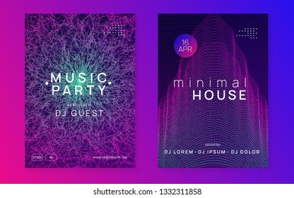 Trance party. Dynamic gradient shape and line. Curvy concert magazine set. Neon trance party flyer. Electro dance music. Electronic sound. Club dj poster. Techno fest event.