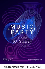 Trance party. Dynamic gradient shape and line. Geometric discotheque banner design. Neon trance party flyer. Electro dance music. Electronic sound. Club dj poster. Techno fest event.