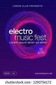 Trance party. Futuristic show magazine layout. Dynamic gradient shape and line. Neon trance party flyer. Electro dance music. Electronic sound. Club dj poster. Techno fest event.
