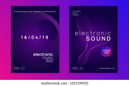 Trance party. Geometric concert cover set. Dynamic gradient shape and line. Neon trance party flyer. Electro dance music. Electronic sound. Club dj poster. Techno fest event.