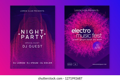 Trance party. Minimal show brochure set. Dynamic gradient shape and line. Neon trance party flyer. Electro dance music. Electronic sound. Club dj poster. Techno fest event.