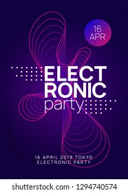 Trance party. Minimal show magazine template. Dynamic gradient shape and line. Neon trance party flyer. Electro dance music. Electronic sound. Club dj poster. Techno fest event.