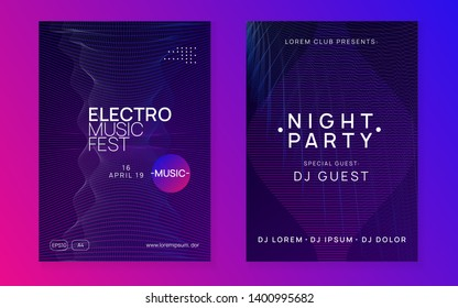 Trance party. Wavy discotheque brochure set. Dynamic gradient shape and line. Neon trance party flyer. Electro dance music. Electronic sound. Club dj poster. Techno fest event.