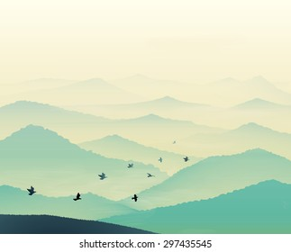 Tranquil hills, vista landscape with flock of flying bird, early morning in mountains, vector, foggy empty landscape