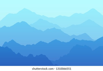Tranquil landscape blue background with mountains. Beautiful view from height, vector illustration drawn in multi-layer technique.