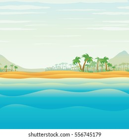 Tranquil Tropical Island Lonely in Blue Ocean. Vacation Travel Poster Flyer Template. Vector Image