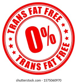 Trans fat free label on white background