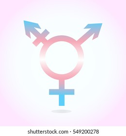 Trans gender icon. Symbol in colors of trans gender flag  on white and pink background. Vector illustration.