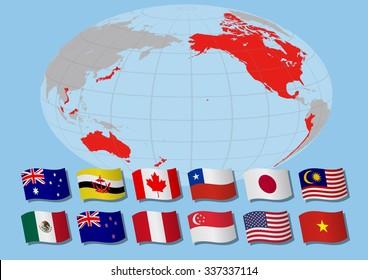 Trans pacific partnership, vector illustration