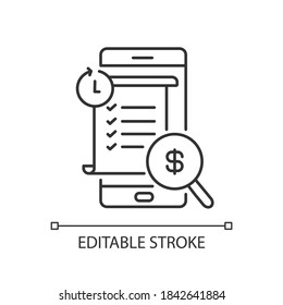 Transaction history linear icon. E wallet application. Mobile banking app using. Payments report. Thin line customizable illustration. Contour symbol. Vector isolated outline drawing. Editable stroke