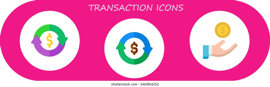 transaction icon set. 3 flat transaction icons.  Collection Of - refund, loan