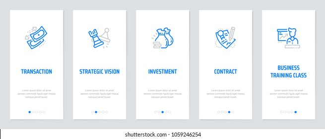 Transaction, Strategic vision, Investment, Contract, Business Vertical Cards with strong metaphors. Template for website design.