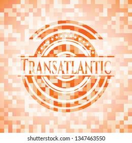 Transatlantic abstract orange mosaic emblem