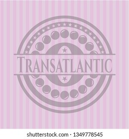 Transatlantic badge with pink background
