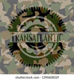 Transatlantic camouflaged emblem. Vector Illustration. Detailed.