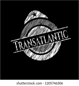 Transatlantic chalkboard emblem written on a blackboard