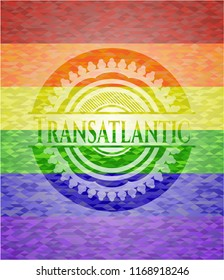 Transatlantic emblem on mosaic background with the colors of the LGBT flag