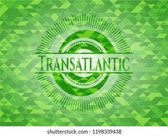 Transatlantic green emblem. Mosaic background