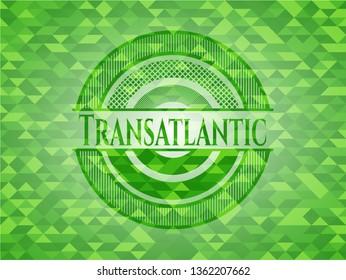 Transatlantic green emblem with triangle mosaic background