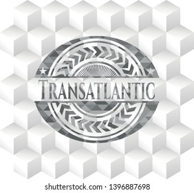 Transatlantic grey badge with geometric cube white background