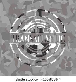 Transatlantic grey camouflage emblem. Vector Illustration.