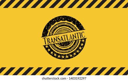 Transatlantic inside warning sign, black grunge emblem. Vector Illustration. Detailed.