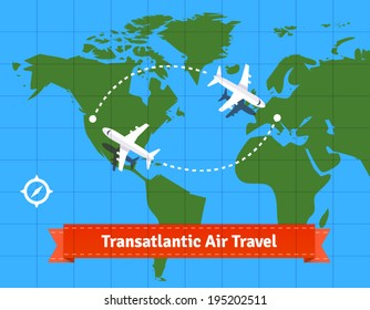 Transatlantic jet plane travel concept. EPS 10 vector.