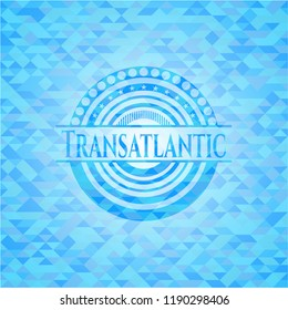 Transatlantic light blue emblem with mosaic background