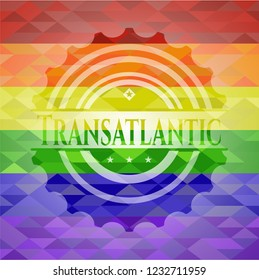 Transatlantic on mosaic background with the colors of the LGBT flag