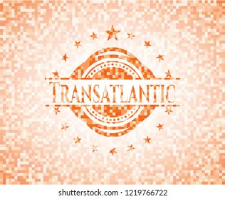 Transatlantic orange tile background illustration. Square geometric mosaic seamless pattern with emblem inside.