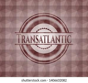 Transatlantic red emblem with geometric pattern. Seamless.