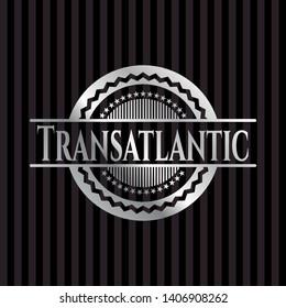 Transatlantic silver shiny emblem]. Vector Illustration. Mosaic.