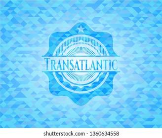 Transatlantic sky blue emblem with mosaic ecological style background
