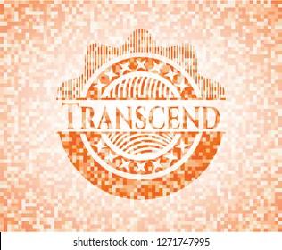 Transcend abstract emblem, orange mosaic background