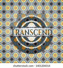 Transcend arabic style emblem. Arabesque decoration.