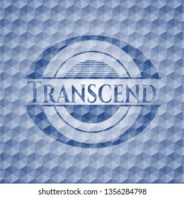 Transcend blue badge with geometric pattern.