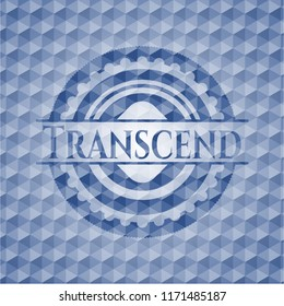 Transcend blue emblem or badge with abstract geometric pattern background.