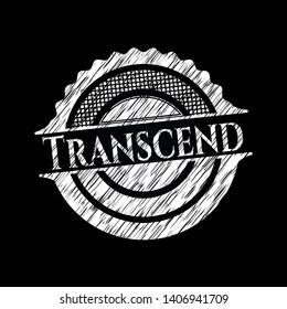 Transcend chalk emblem written on a blackboard. Vector Illustration. Detailed.