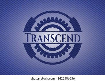 Transcend emblem with jean texture. Vector Illustration. Detailed.