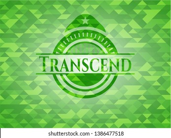 Transcend green emblem with mosaic ecological style background. Vector Illustration. Detailed.