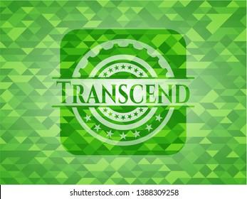 Transcend green mosaic emblem. Vector Illustration. Detailed.
