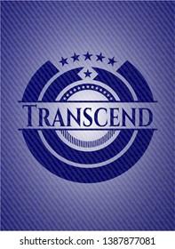 Transcend jean or denim emblem or badge background. Vector Illustration. Detailed.